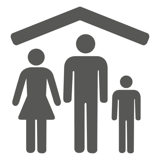 Family beneath house icon