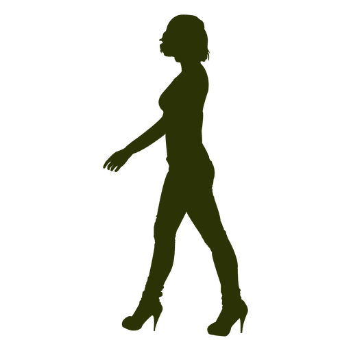 Fashion girl walking silhouette 4 Transparent PNG