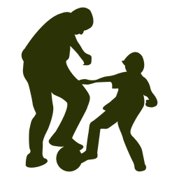 Father son playing football silhouette