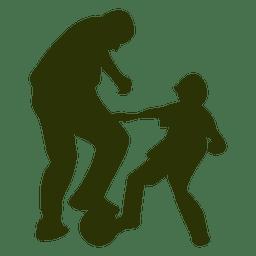 Pai, filho, tocando, futebol, silueta