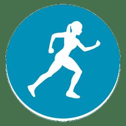Ícone de círculo de atleta feminina