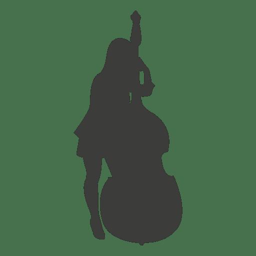 Silueta femenina del músico cello Transparent PNG