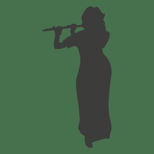 Female flute musician silhouette - Transparent PNG & SVG ...