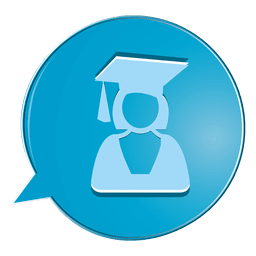 Female graduate bubble icon