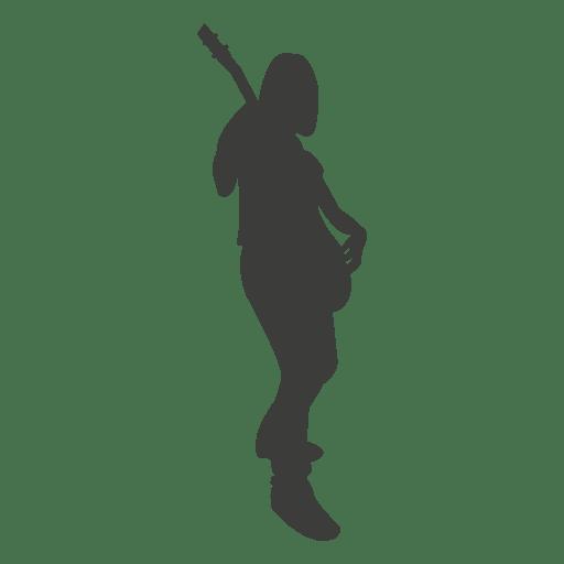 Mujer guitarrista haciendo musica silueta Transparent PNG