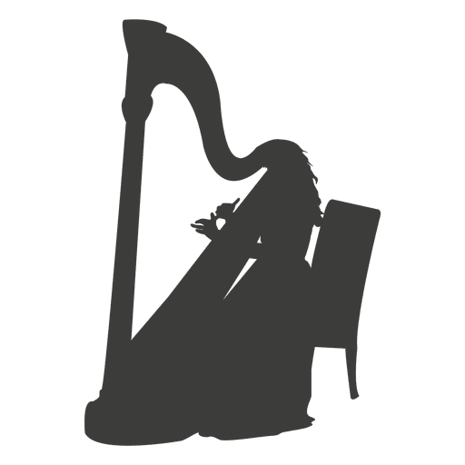 Female harp player silhouette Transparent PNG