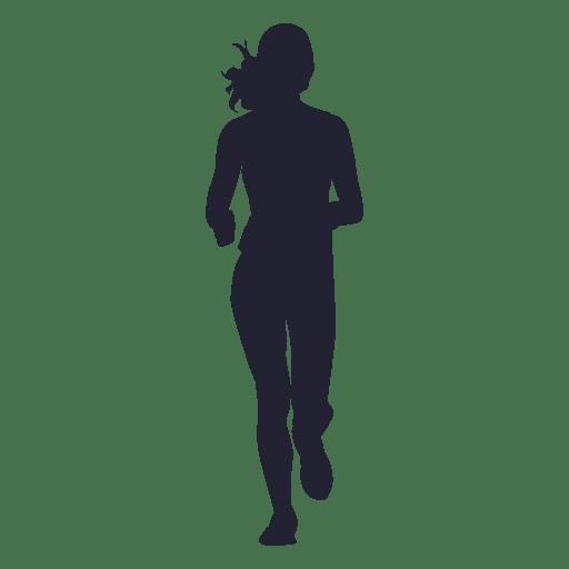 Female marathon running silhouette