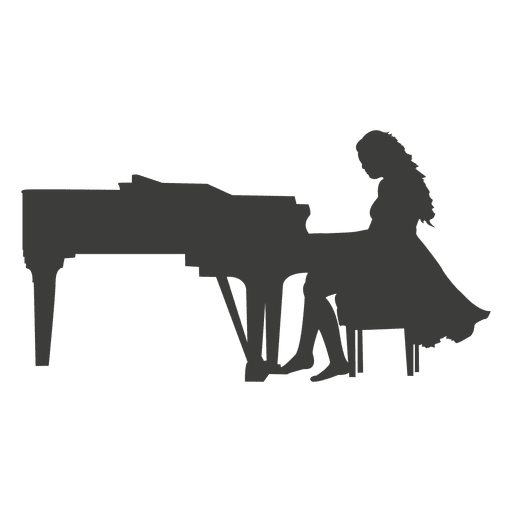 Female pianist silhouette