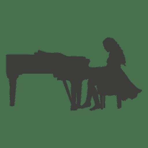 Silueta pianista femenina Transparent PNG