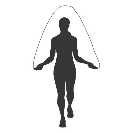 Female rope jumping silhouette