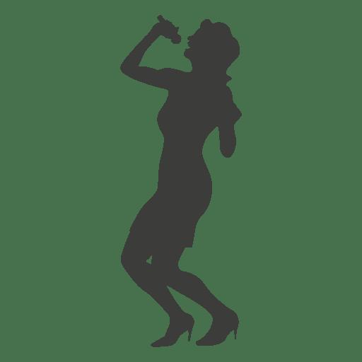 Mujer cantante gris silueta Transparent PNG