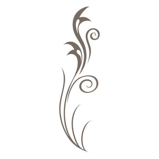 Floral ornament decoration in gray Transparent PNG