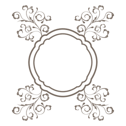 Floral ornament round frame