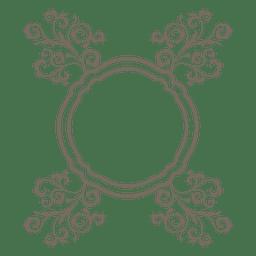 ornamento floral frame redondo