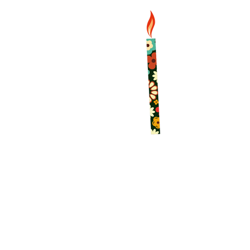 Flower print birthday candle Transparent PNG