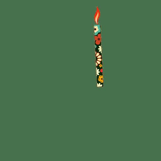 Flower print birthday candle