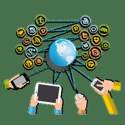 Gadgets interactuando redes sociales.