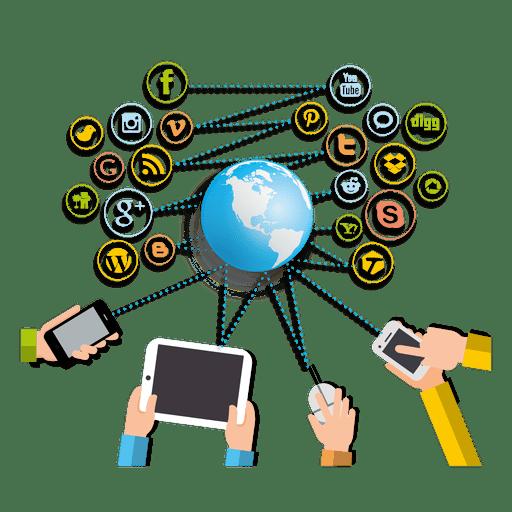 Gadgets interacting social networks Transparent PNG