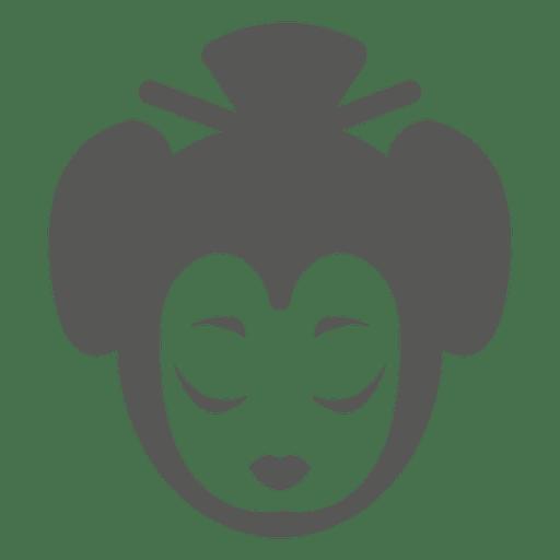 Geisha cara icono silueta Transparent PNG