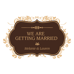 Getting married wedding badge design