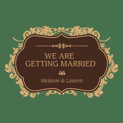 Getting married wedding badge design Transparent PNG