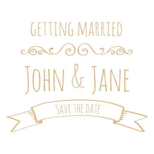 Getting married wedding label 4 Transparent PNG