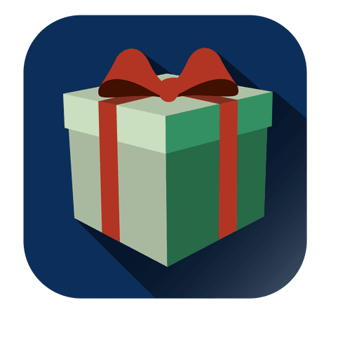 Gift box 3D square icon - Transparent PNG & SVG vector file