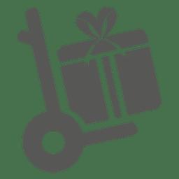 Caja de regalo en el icono de carro