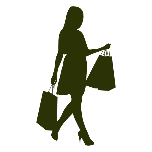 Girl siljouette carrying shopping bags - Transparent PNG ...