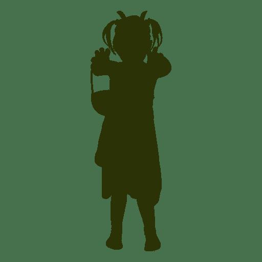 Girl holding basket silhouette Transparent PNG