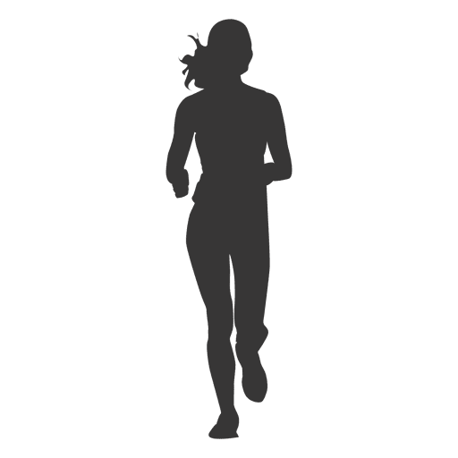 Girl jogging silhouette 1 Transparent PNG