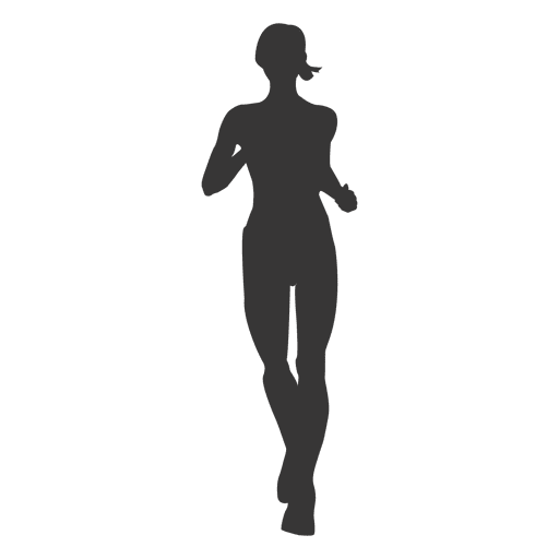 Girl jogging silhouette 2 Transparent PNG