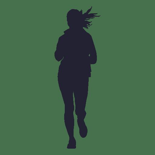 Girl marathon running silhouette 2