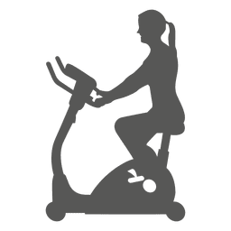 Girl on spin bike icon