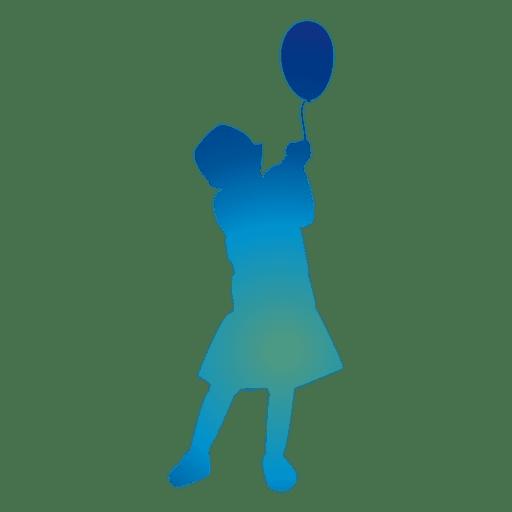 Niña jugando con una silueta de globo Transparent PNG