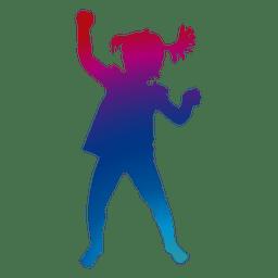 Menina jogando silhueta em tons de arco-íris