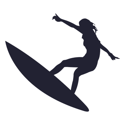 Girl surfing jump silhouette Transparent PNG
