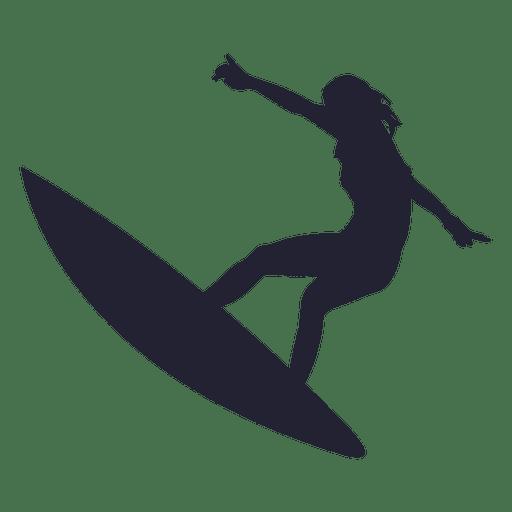 Girl surfing jump silhouette