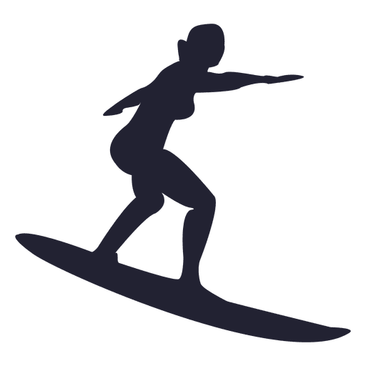 Girl surfing silhouette Transparent PNG