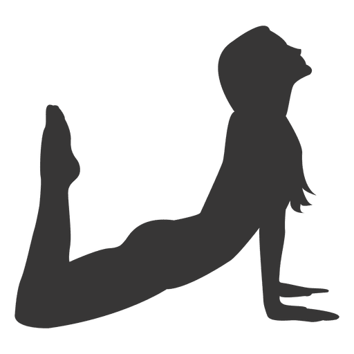 Girl yoga practice silhouette in gray Transparent PNG