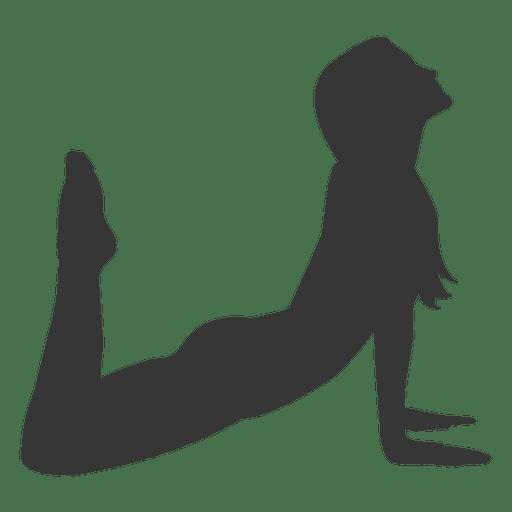 Silueta de pr?ctica de yoga chica en gris