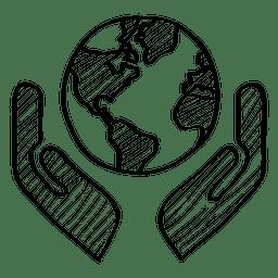 Globo em mãos doodle