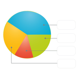 Glossy colorful piechart with boxes
