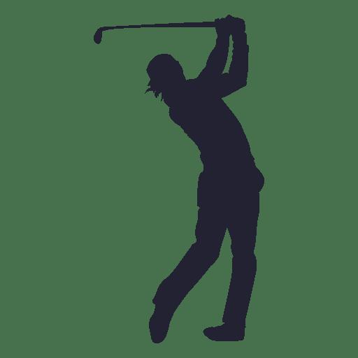 Silhueta de jogador de golfe atirando