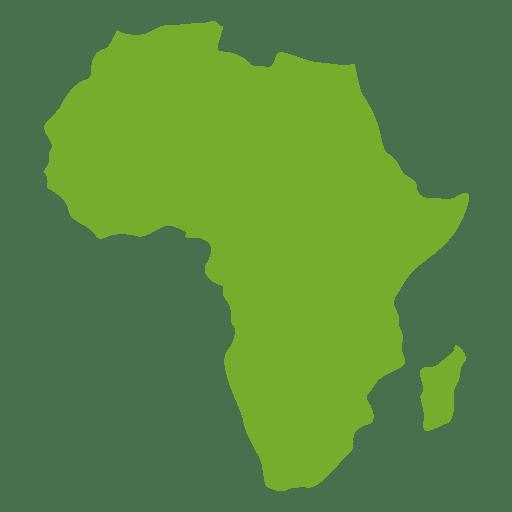 Mapa continental de áfrica verde