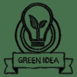 Grüne Idee Gekritzel Abzeichen
