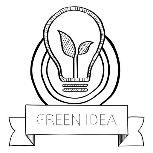 Green idea doodle badge