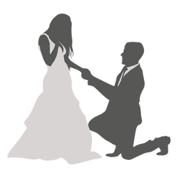 Noivo ajoelhado para noiva