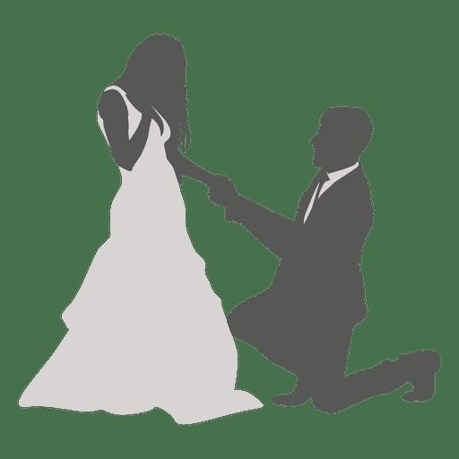 Groom kneeling to bride Transparent PNG