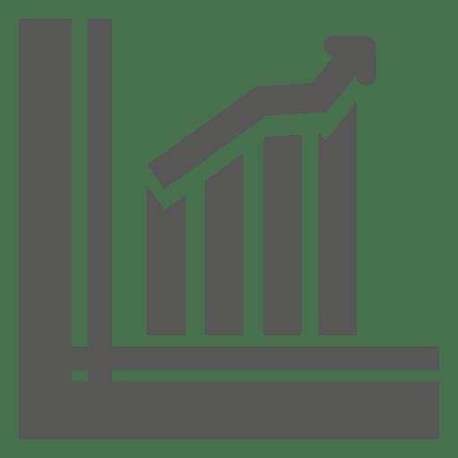 Growing bars arrow graph Transparent PNG
